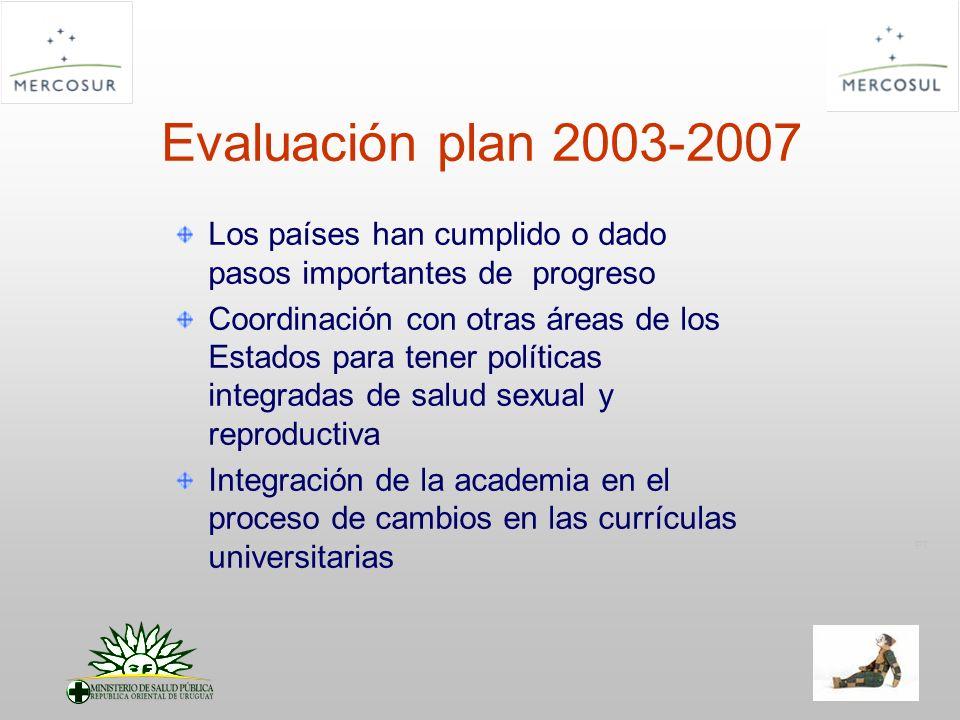 PT Evaluación plan 2003-2007 Los países han cumplido o dado pasos importantes de progreso Coordinación con otras áreas de los Estados para tener políticas integradas de salud sexual y reproductiva Integración de la academia en el proceso de cambios en las currículas universitarias
