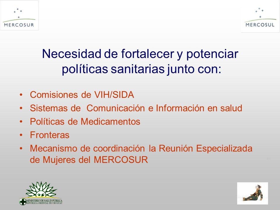 PT Necesidad de fortalecer y potenciar políticas sanitarias junto con: Comisiones de VIH/SIDA Sistemas de Comunicación e Información en salud Políticas de Medicamentos Fronteras Mecanismo de coordinación la Reunión Especializada de Mujeres del MERCOSUR