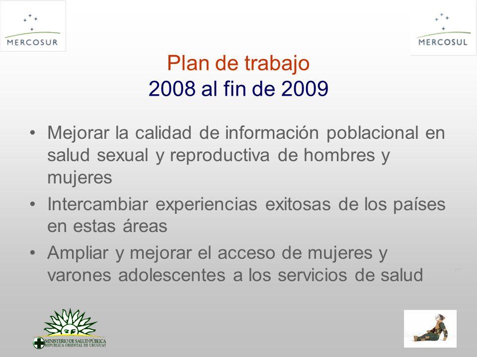 PT Plan de trabajo 2008 al fin de 2009 Mejorar la calidad de información poblacional en salud sexual y reproductiva de hombres y mujeres Intercambiar experiencias exitosas de los países en estas áreas Ampliar y mejorar el acceso de mujeres y varones adolescentes a los servicios de salud