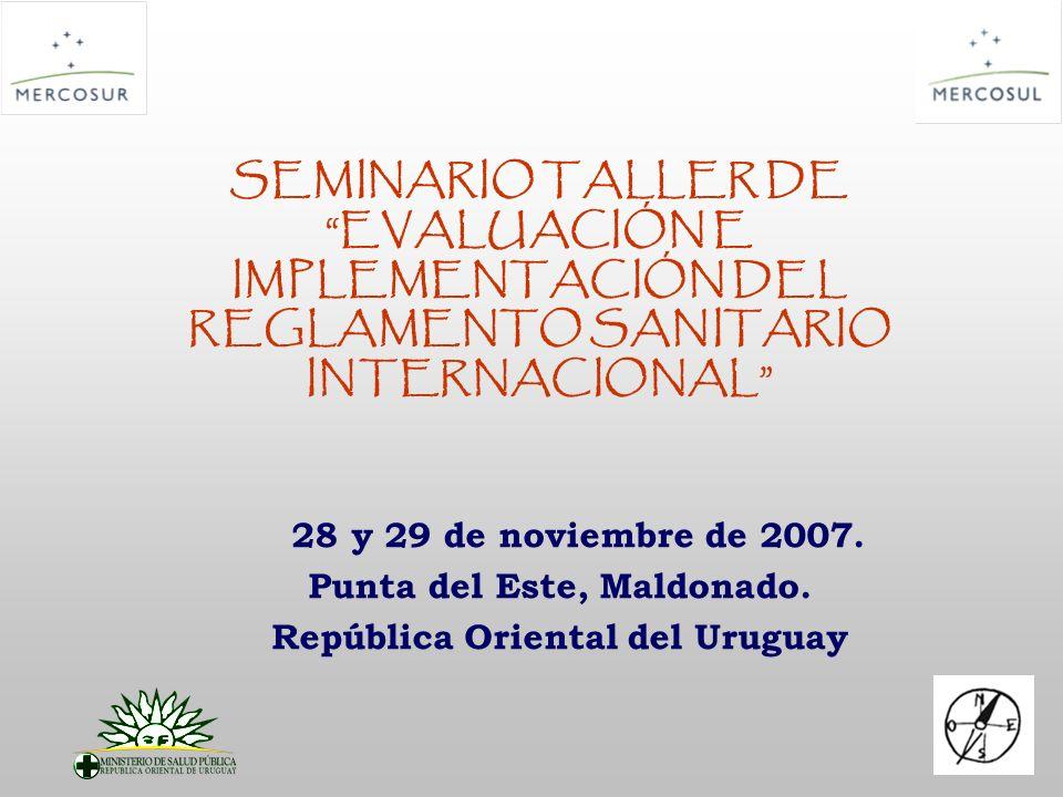 SEMINARIO TALLER DE EVALUACIÓN E IMPLEMENTACIÓN DEL REGLAMENTO SANITARIO INTERNACIONAL 28 y 29 de noviembre de 2007. Punta del Este, Maldonado. Repúbl