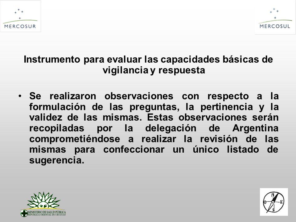Instrumento para evaluar las capacidades básicas de vigilancia y respuesta Se realizaron observaciones con respecto a la formulación de las preguntas, la pertinencia y la validez de las mismas.