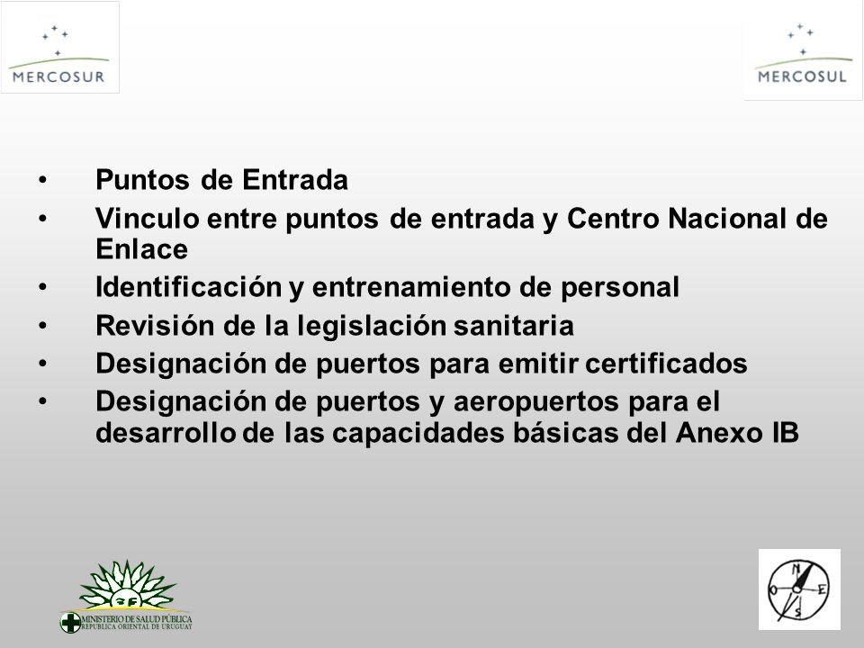 Puntos de Entrada Vinculo entre puntos de entrada y Centro Nacional de Enlace Identificación y entrenamiento de personal Revisión de la legislación sa