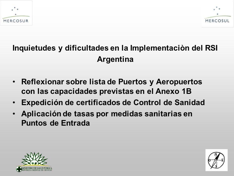 Inquietudes y dificultades en la Implementaciòn del RSI Argentina Reflexionar sobre lista de Puertos y Aeropuertos con las capacidades previstas en el Anexo 1B Expedición de certificados de Control de Sanidad Aplicación de tasas por medidas sanitarias en Puntos de Entrada