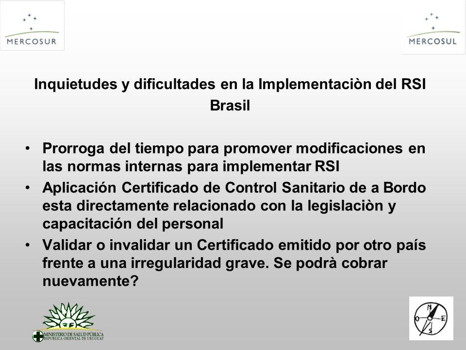 Inquietudes y dificultades en la Implementaciòn del RSI Brasil Prorroga del tiempo para promover modificaciones en las normas internas para implementa