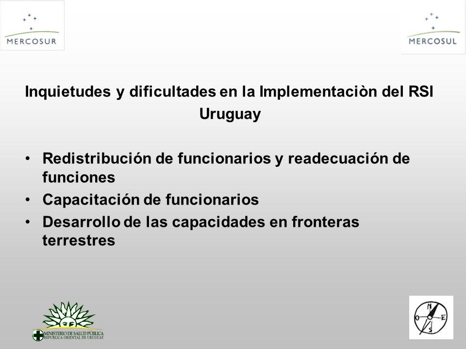 Inquietudes y dificultades en la Implementaciòn del RSI Uruguay Redistribución de funcionarios y readecuación de funciones Capacitación de funcionarios Desarrollo de las capacidades en fronteras terrestres