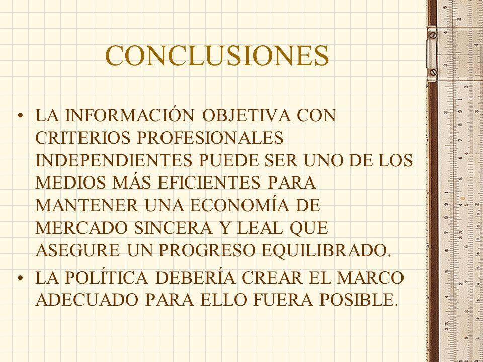 CONCLUSIONES LA INFORMACIÓN OBJETIVA CON CRITERIOS PROFESIONALES INDEPENDIENTES PUEDE SER UNO DE LOS MEDIOS MÁS EFICIENTES PARA MANTENER UNA ECONOMÍA DE MERCADO SINCERA Y LEAL QUE ASEGURE UN PROGRESO EQUILIBRADO.