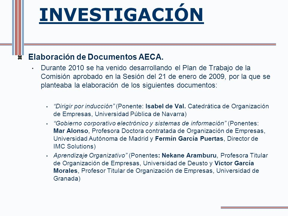 INVESTIGACIÓN Elaboración de Documentos AECA.