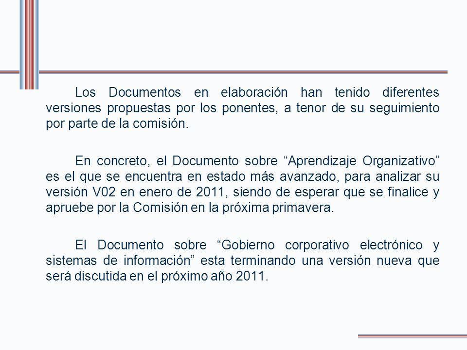 Los Documentos en elaboración han tenido diferentes versiones propuestas por los ponentes, a tenor de su seguimiento por parte de la comisión.