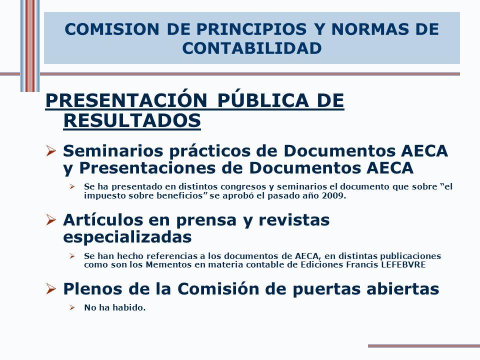 PRESENTACIÓN PÚBLICA DE RESULTADOS Seminarios prácticos de Documentos AECA y Presentaciones de Documentos AECA Se ha presentado en distintos congresos