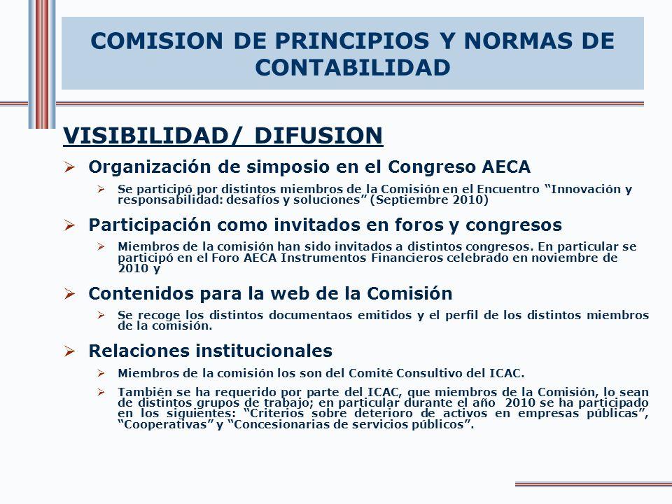 VISIBILIDAD/ DIFUSION Organización de simposio en el Congreso AECA Se participó por distintos miembros de la Comisión en el Encuentro Innovación y res