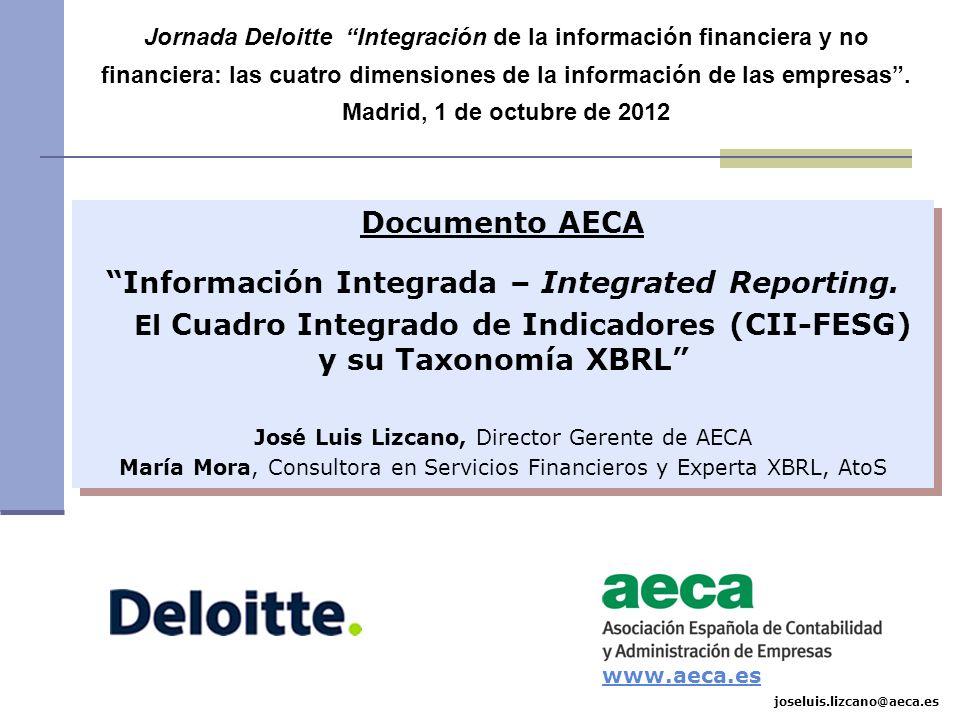 Marco conceptual (CII-FESG): Representación de la realidad empresarial KPI Fondo Flujo Cuantitativo Cualitativo Entidad Entorno Compromiso FuturoPasado Gobierno Social Ambiental Financiera DOCUMENTO AECA Información Integrada - Integrated Reporting.