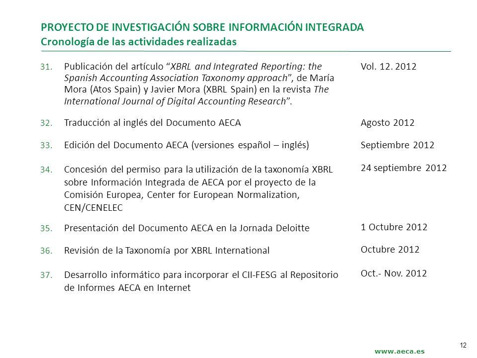 www.aeca.es PROYECTO DE INVESTIGACIÓN SOBRE INFORMACIÓN INTEGRADA Cronología de las actividades realizadas 31. Publicación del artículo XBRL and Integ