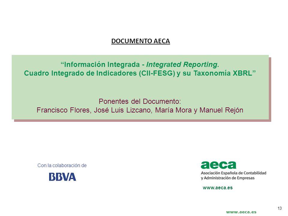 Con la colaboración de www.aeca.es Información Integrada - Integrated Reporting. Cuadro Integrado de Indicadores (CII-FESG) y su Taxonomía XBRL Ponent