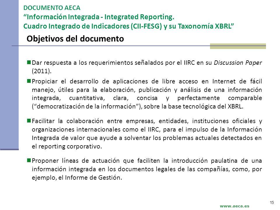 Objetivos del documento Dar respuesta a los requerimientos señalados por el IIRC en su Discussion Paper (2011). Propiciar el desarrollo de aplicacione