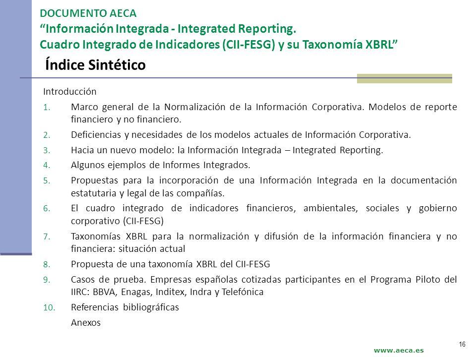 Índice Sintético DOCUMENTO AECA Información Integrada - Integrated Reporting. Cuadro Integrado de Indicadores (CII-FESG) y su Taxonomía XBRL www.aeca.
