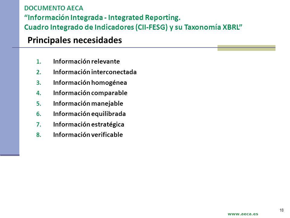 Principales necesidades 1. Información relevante 2. Información interconectada 3. Información homogénea 4. Información comparable 5. Información manej