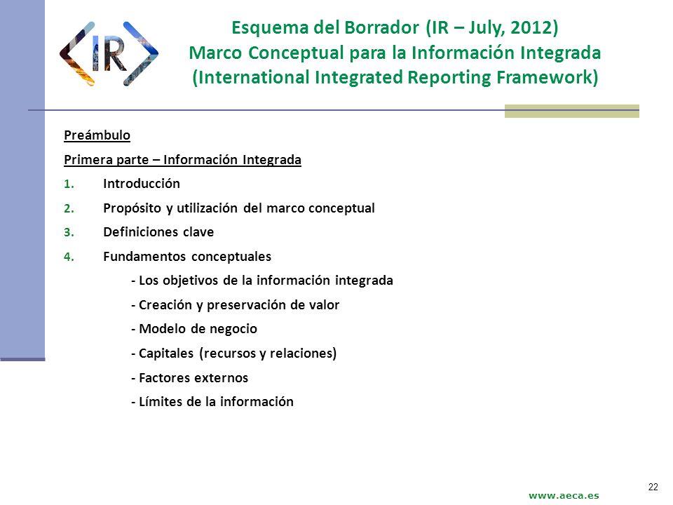 www.aeca.es Esquema del Borrador (IR – July, 2012) Marco Conceptual para la Información Integrada (International Integrated Reporting Framework) Preám