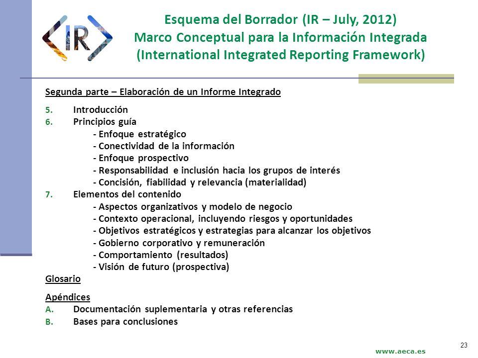 www.aeca.es Segunda parte – Elaboración de un Informe Integrado 5. Introducción 6. Principios guía - Enfoque estratégico - Conectividad de la informac