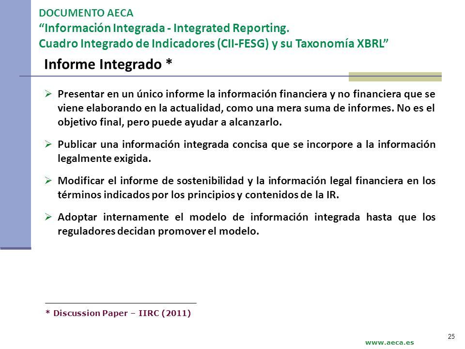 Informe Integrado * DOCUMENTO AECA Información Integrada - Integrated Reporting. Cuadro Integrado de Indicadores (CII-FESG) y su Taxonomía XBRL www.ae