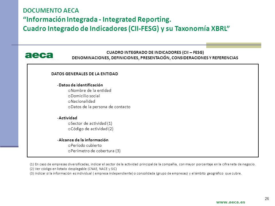www.aeca.es DATOS GENERALES DE LA ENTIDAD - Datos de identificación o Nombre de la entidad o Domicilio social o Nacionalidad o Datos de la persona de