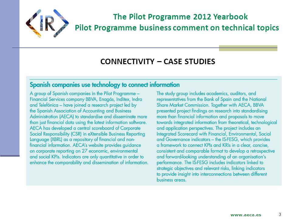 The Pilot Programme 2012 Yearbook Pilot Programme business comment on technical topics www.aeca.es CONNECTIVITY – CASE STUDIES 3