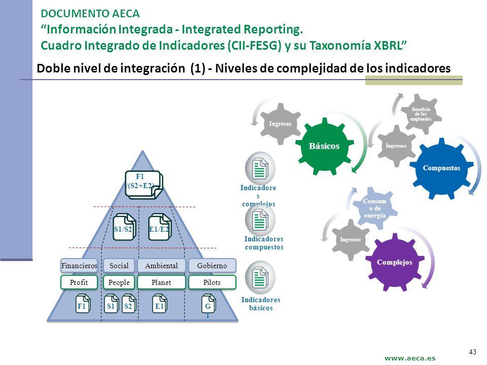 Doble nivel de integración (1) - Niveles de complejidad de los indicadores Indicadore s complejos Indicadores compuestos Indicadores básicos F1S1S2E1G