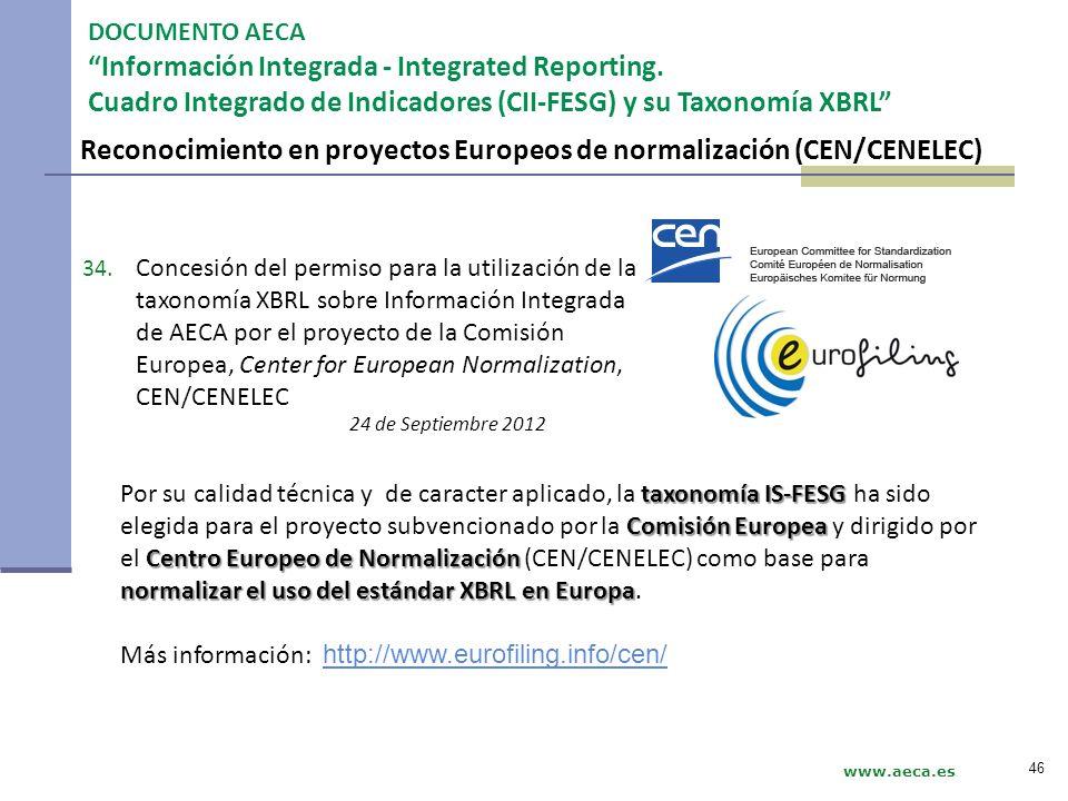 Reconocimiento en proyectos Europeos de normalización (CEN/CENELEC) DOCUMENTO AECA Información Integrada - Integrated Reporting. Cuadro Integrado de I
