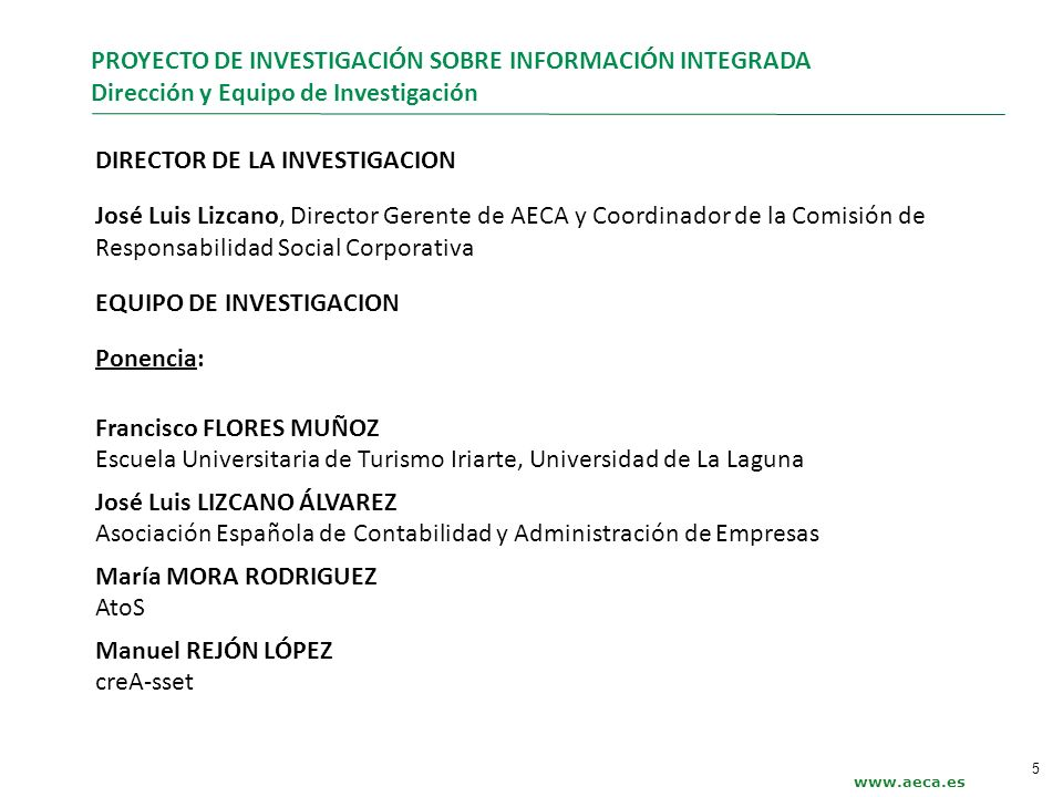 Índice Sintético DOCUMENTO AECA Información Integrada - Integrated Reporting.