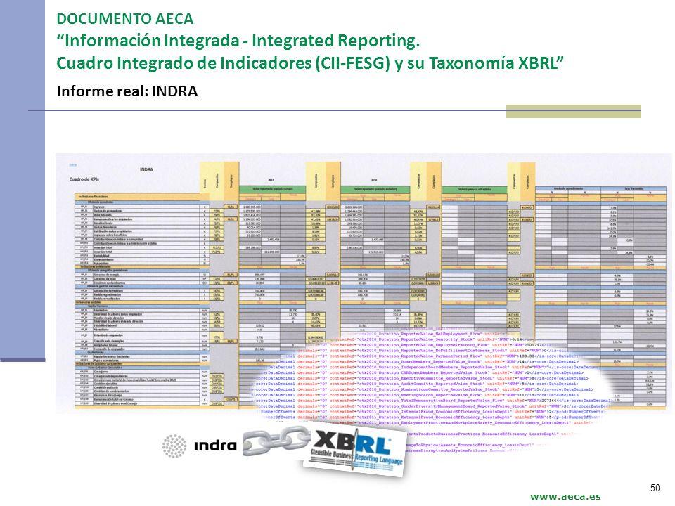 www.aeca.es DOCUMENTO AECA Información Integrada - Integrated Reporting. Cuadro Integrado de Indicadores (CII-FESG) y su Taxonomía XBRL 50 Informe rea