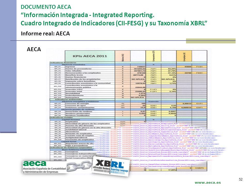 www.aeca.es DOCUMENTO AECA Información Integrada - Integrated Reporting. Cuadro Integrado de Indicadores (CII-FESG) y su Taxonomía XBRL AECA 52 Inform