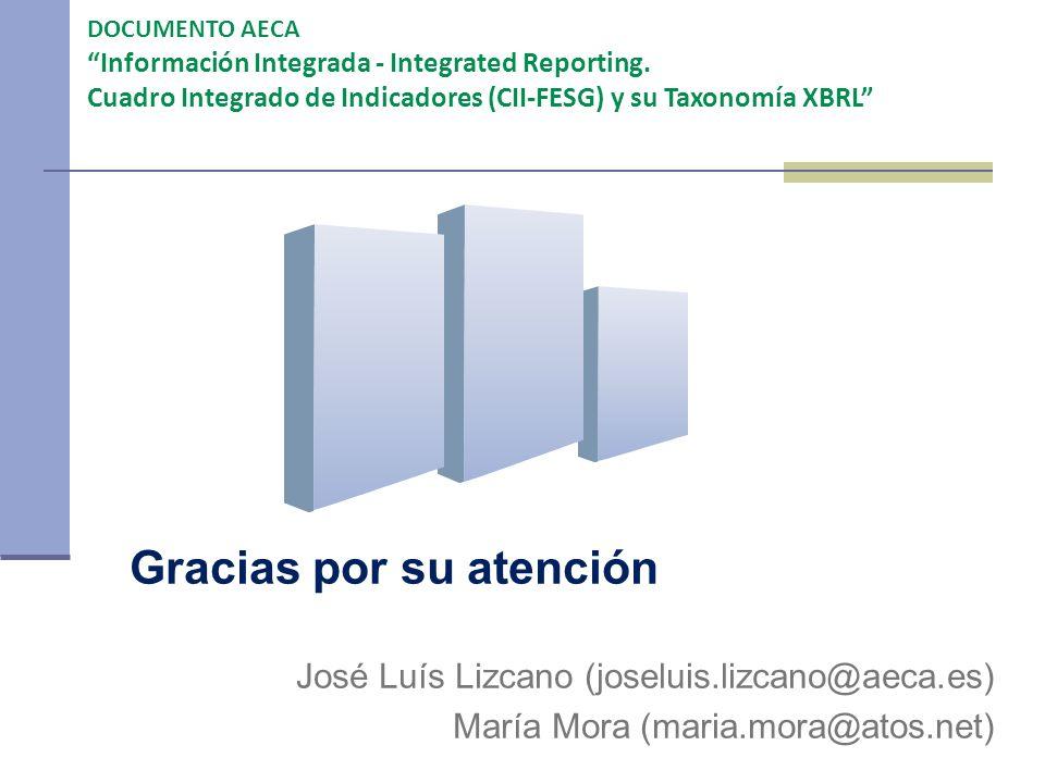 Gracias por su atención José Luís Lizcano (joseluis.lizcano@aeca.es) María Mora (maria.mora@atos.net) DOCUMENTO AECA Información Integrada - Integrate