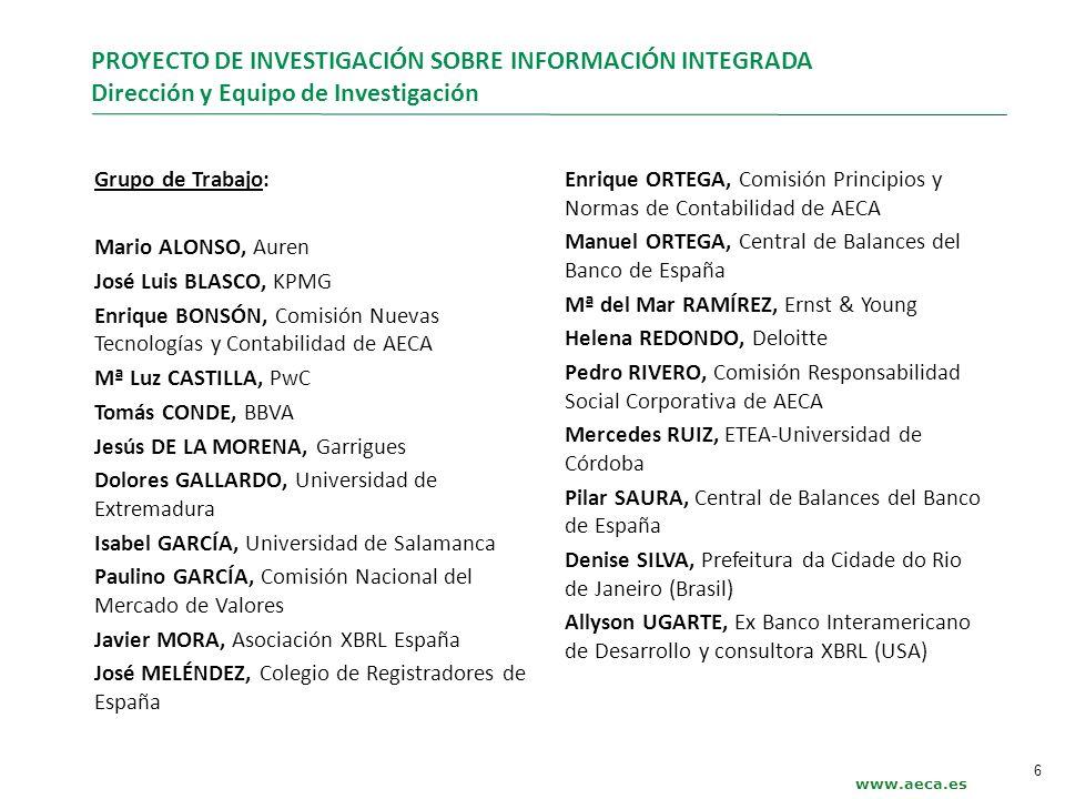 PROYECTO DE INVESTIGACIÓN SOBRE INFORMACIÓN INTEGRADA Dirección y Equipo de Investigación www.aeca.es Grupo de Trabajo: Mario ALONSO, Auren José Luis