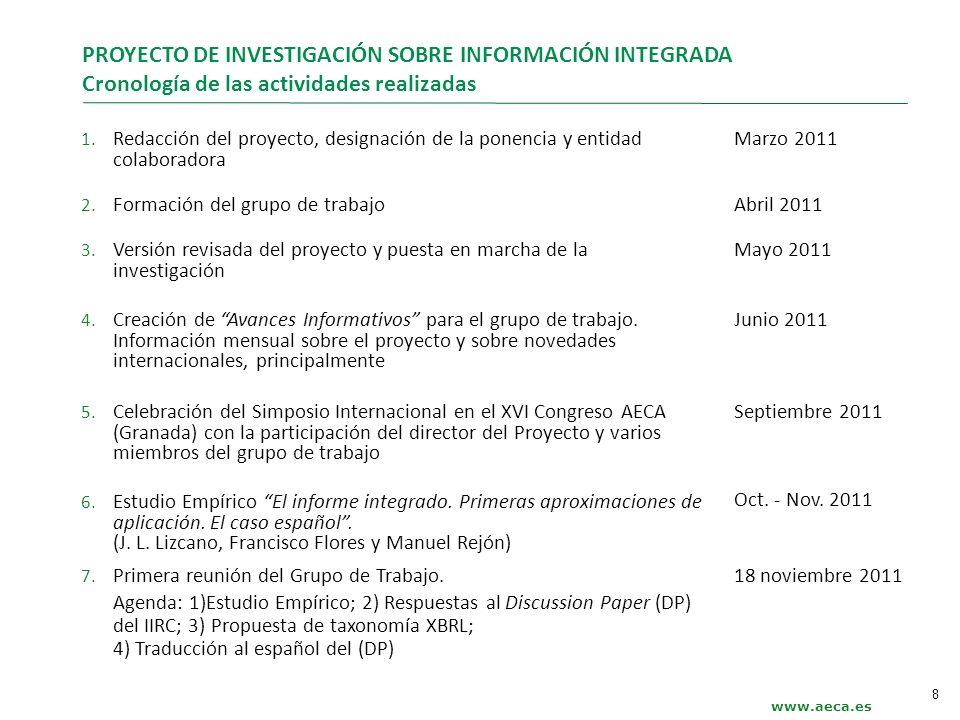 PROYECTO DE INVESTIGACIÓN SOBRE INFORMACIÓN INTEGRADA Cronología de las actividades realizadas 1. Redacción del proyecto, designación de la ponencia y