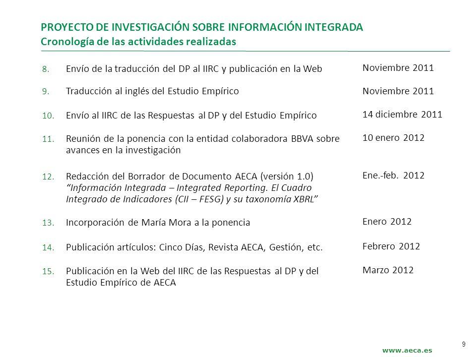 www.aeca.es PROYECTO DE INVESTIGACIÓN SOBRE INFORMACIÓN INTEGRADA Cronología de las actividades realizadas 8. Envío de la traducción del DP al IIRC y
