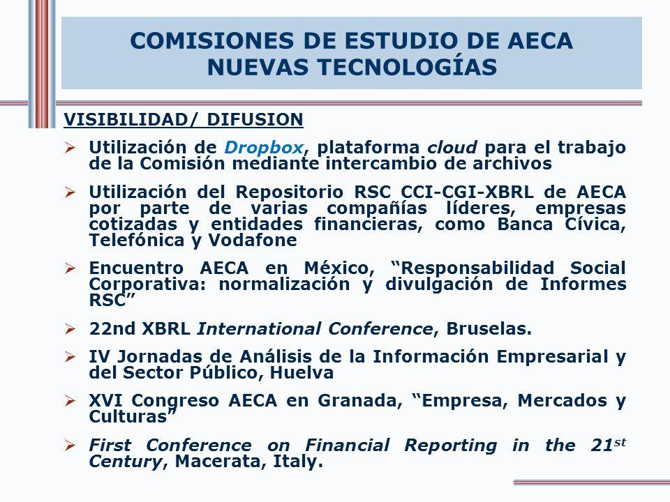 VISIBILIDAD/ DIFUSION Utilización de Dropbox, plataforma cloud para el trabajo de la Comisión mediante intercambio de archivos Utilización del Repositorio RSC CCI-CGI-XBRL de AECA por parte de varias compañías líderes, empresas cotizadas y entidades financieras, como Banca Cívica, Telefónica y Vodafone Encuentro AECA en México, Responsabilidad Social Corporativa: normalización y divulgación de Informes RSC 22nd XBRL International Conference, Bruselas.