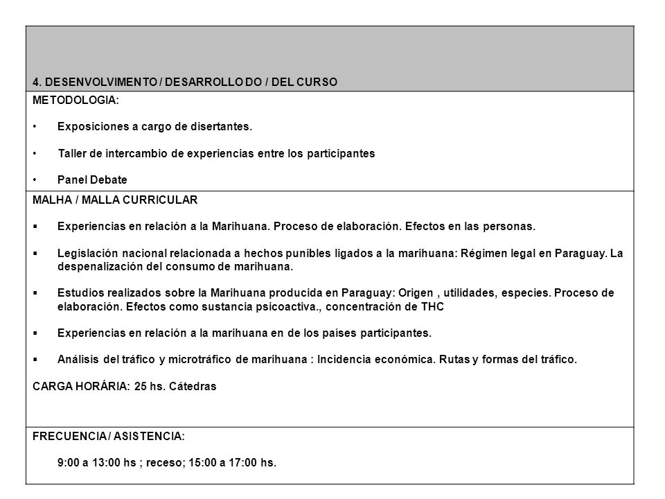 4. DESENVOLVIMENTO / DESARROLLO DO / DEL CURSO METODOLOGIA: Exposiciones a cargo de disertantes.