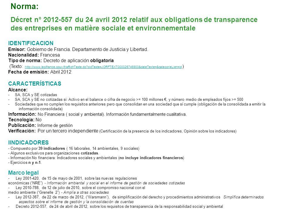 IDENTIFICACION Emisor: Gobierno de Francia. Departamento de Justicia y Libertad. Nacionalidad: Francesa Tipo de norma: Decreto de aplicación obligator