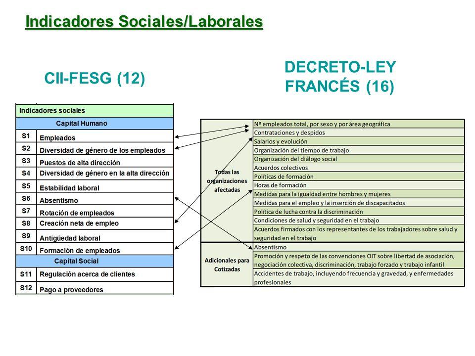 Indicadores Sociales/Laborales CII-FESG (12) DECRETO-LEY FRANCÉS (16)
