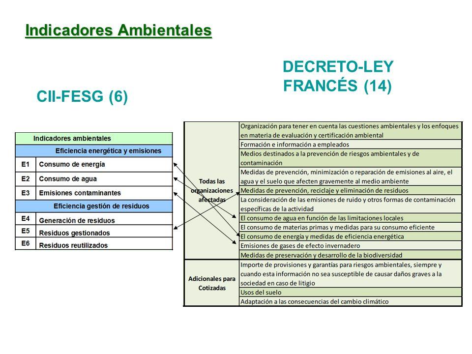 Indicadores Ambientales DECRETO-LEY FRANCÉS (14) CII-FESG (6)