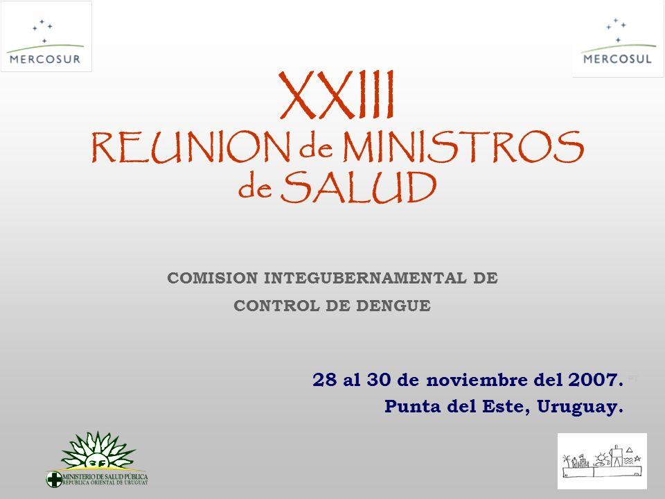 PT XXIII REUNION de MINISTROS de SALUD 28 al 30 de noviembre del 2007. Punta del Este, Uruguay. COMISION INTEGUBERNAMENTAL DE CONTROL DE DENGUE