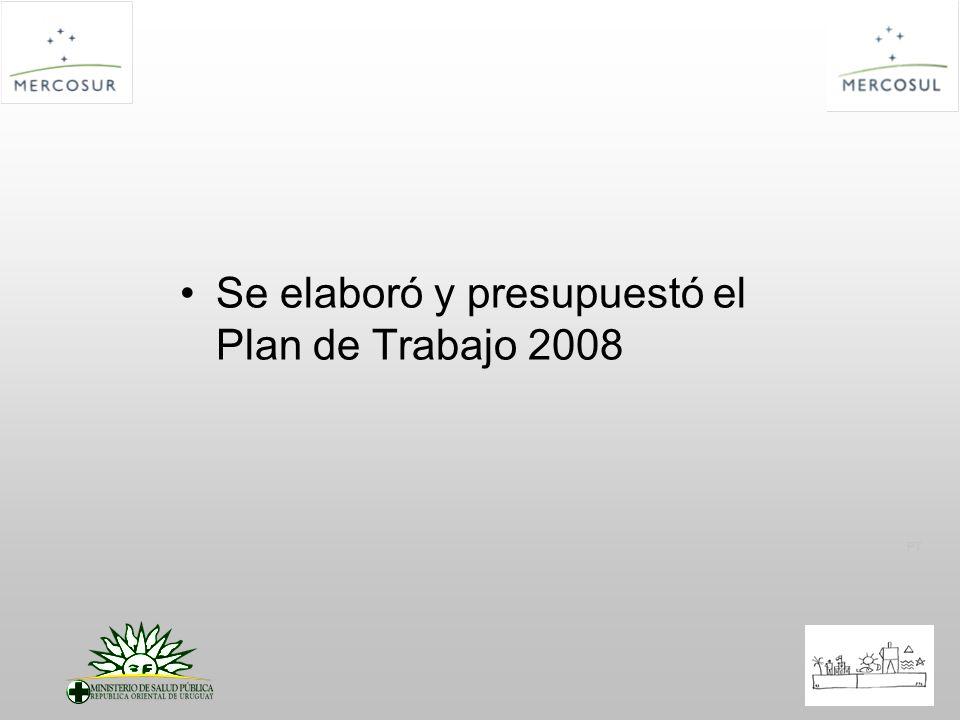 PT Se elaboró y presupuestó el Plan de Trabajo 2008