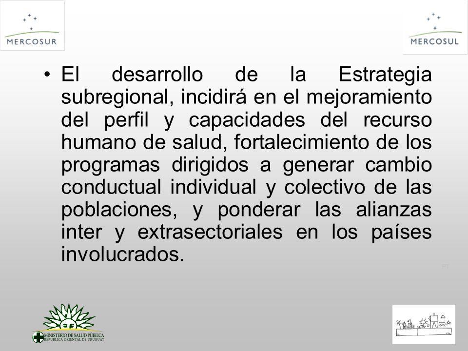 PT El desarrollo de la Estrategia subregional, incidirá en el mejoramiento del perfil y capacidades del recurso humano de salud, fortalecimiento de lo