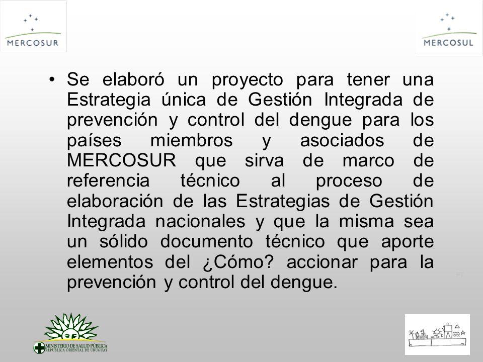 PT El Proyecto se estructuró en 3 componentes: Elaboración de la Estrategia de Gestión Integrada para la prevención y control del dengue en MERCOSUR (EGI-Dengue MERCOSUR) Difusión de la EGI-Dengue MERCOSUR en los Estados partes y Asociados Evaluación de la implementación de la EGI – MERCOSUR en los países partes y asociados
