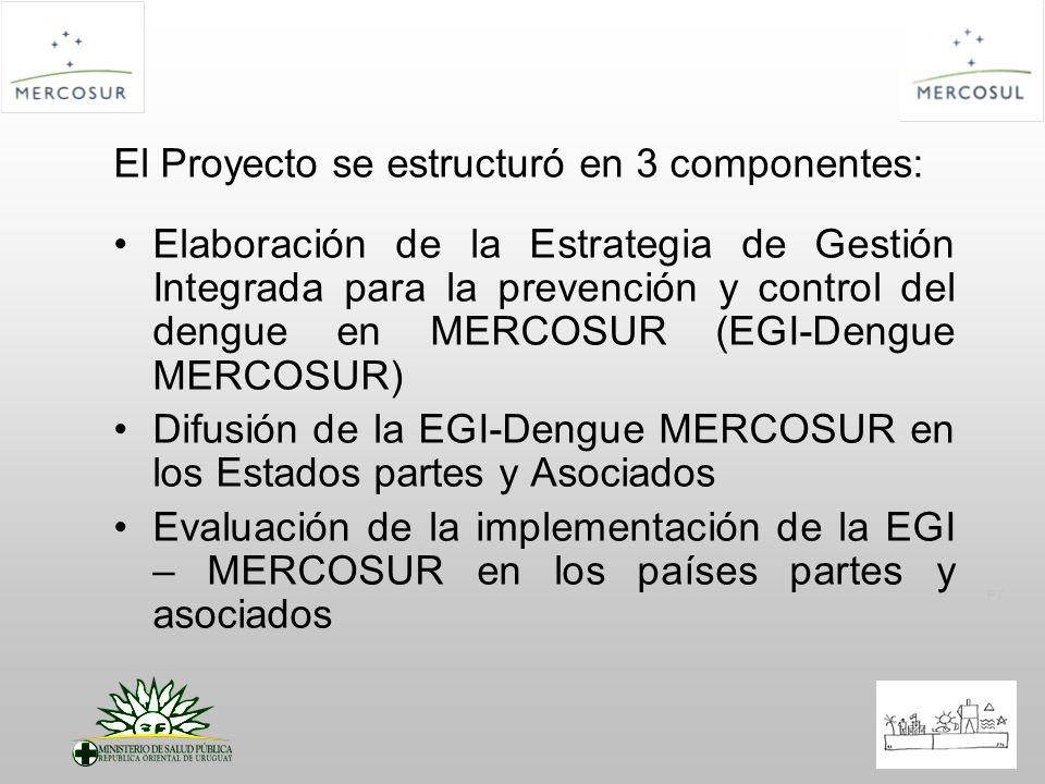 PT El Proyecto se estructuró en 3 componentes: Elaboración de la Estrategia de Gestión Integrada para la prevención y control del dengue en MERCOSUR (