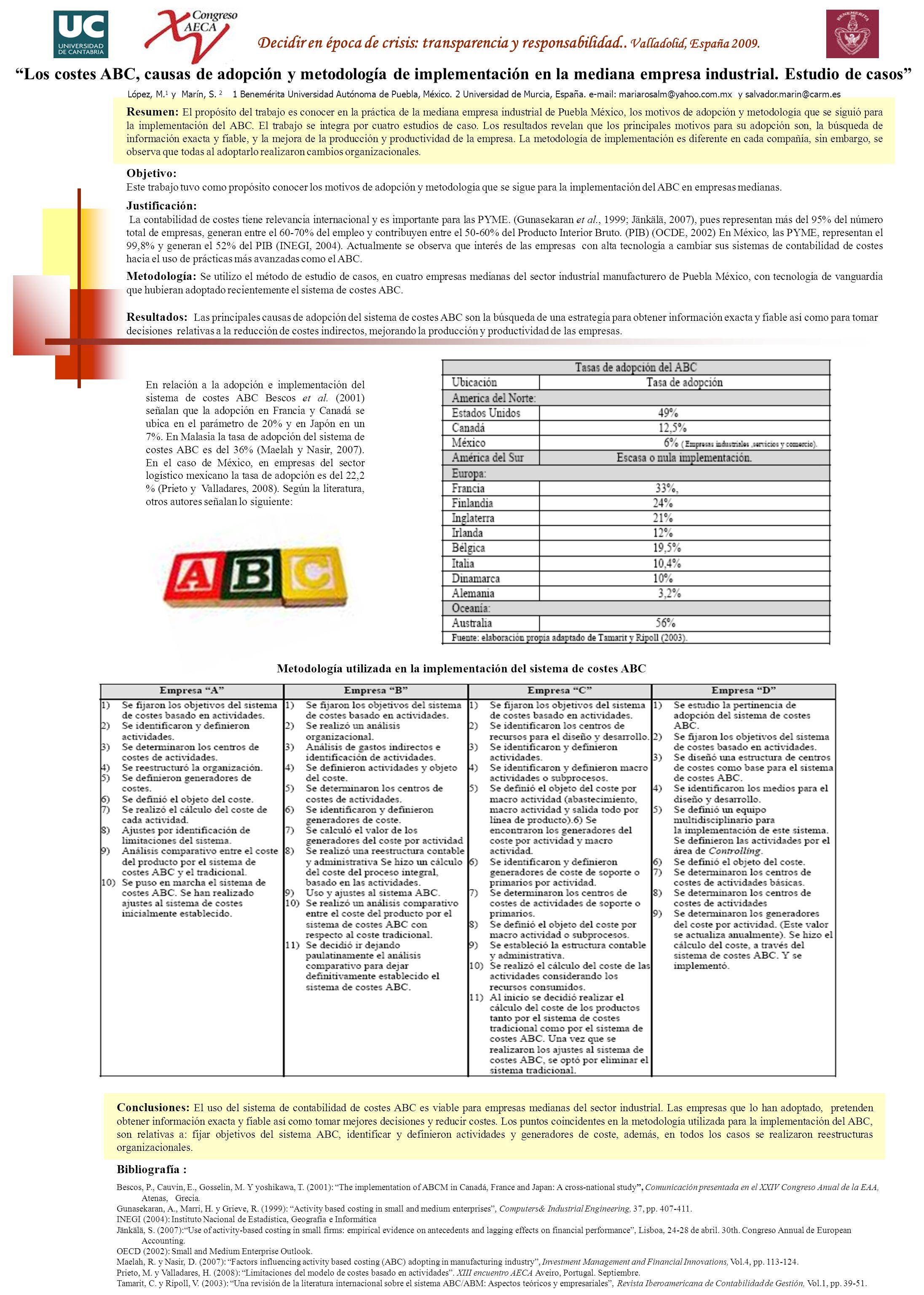 Metodología: Se utilizo el método de estudio de casos, en cuatro empresas medianas del sector industrial manufacturero de Puebla México, con tecnología de vanguardia que hubieran adoptado recientemente el sistema de costes ABC.