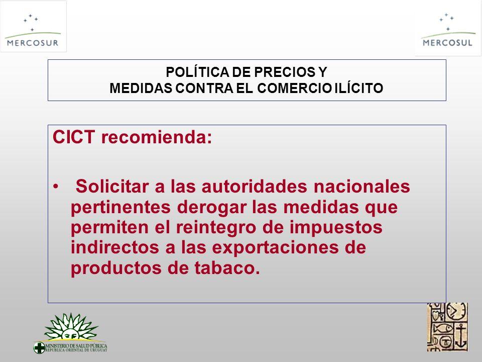 POLÍTICA DE PRECIOS Y MEDIDAS CONTRA EL COMERCIO ILÍCITO CICT recomienda: Solicitar a las autoridades nacionales pertinentes derogar las medidas que permiten el reintegro de impuestos indirectos a las exportaciones de productos de tabaco.
