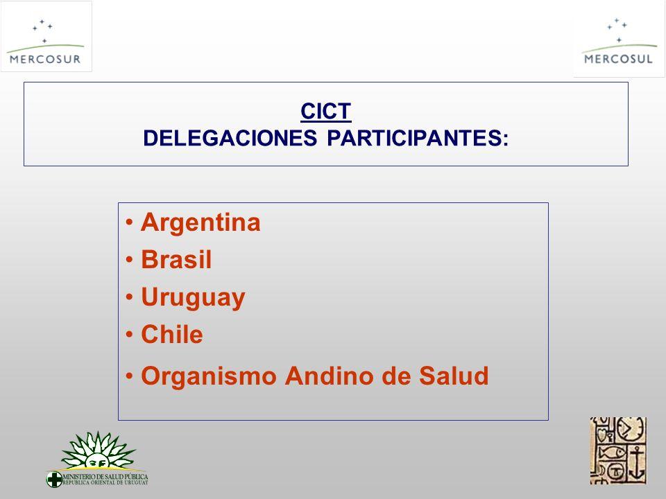 CICT DELEGACIONES PARTICIPANTES: Argentina Brasil Uruguay Chile Organismo Andino de Salud