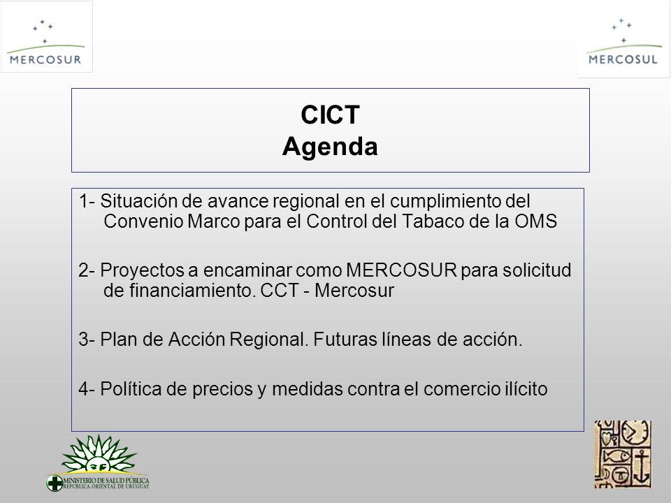 CICT Agenda 1- Situación de avance regional en el cumplimiento del Convenio Marco para el Control del Tabaco de la OMS 2- Proyectos a encaminar como MERCOSUR para solicitud de financiamiento.