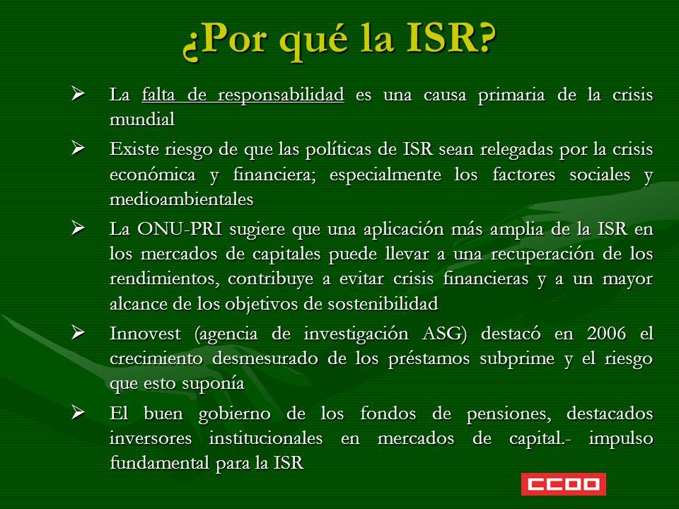 ¿Por qué la ISR? La falta de responsabilidad es una causa primaria de la crisis mundial La falta de responsabilidad es una causa primaria de la crisis