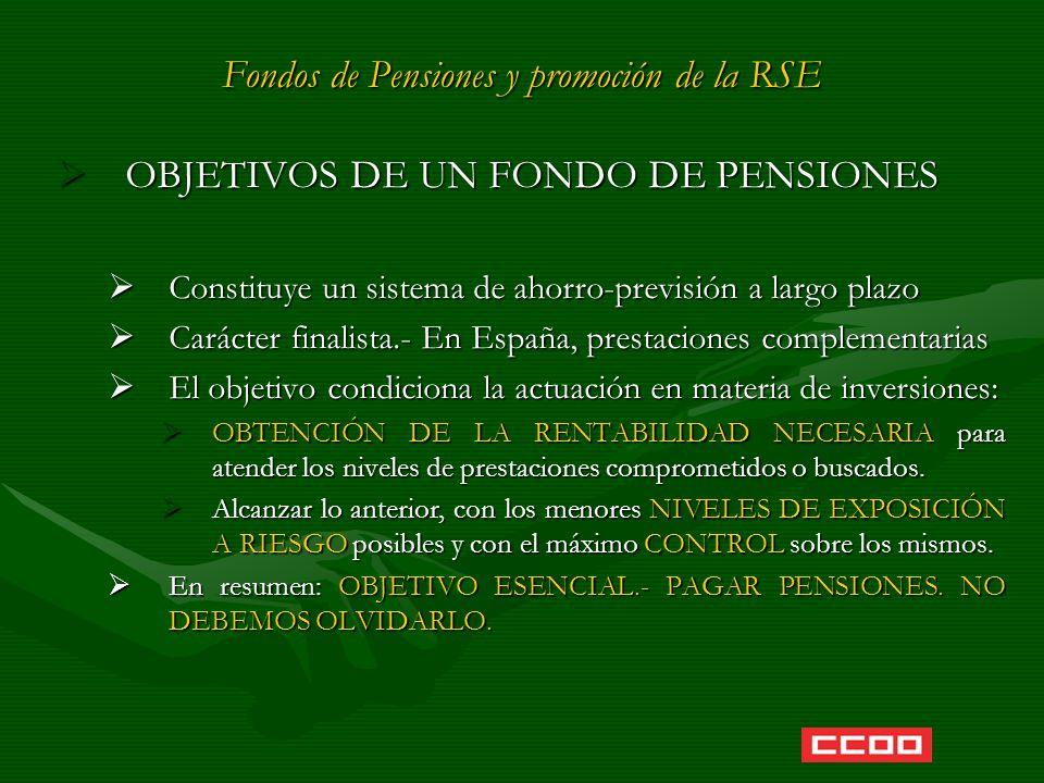 Fondos de Pensiones y promoción de la RSE OBJETIVOS DE UN FONDO DE PENSIONES OBJETIVOS DE UN FONDO DE PENSIONES Constituye un sistema de ahorro-previs